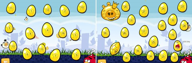 Angry Birds Golden Eggs Selection Screens with Numbers All 35