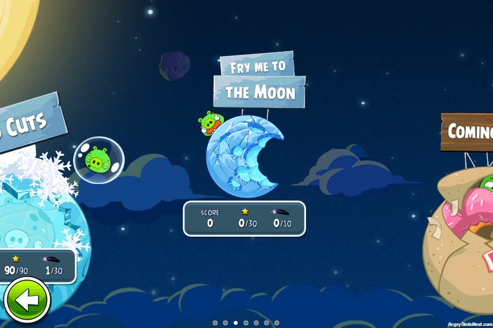 Angry Birds Space Fry Me to the Moon Episode Selection Screen