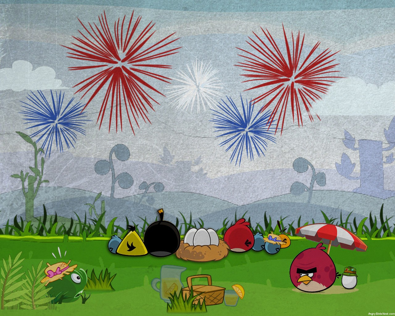 Angry Birds Fourth of July Wallpaper Laptop 1280x1024