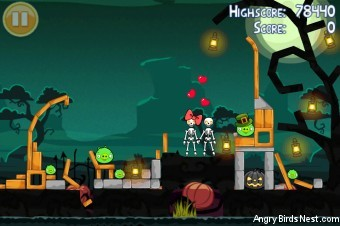 Angry Birds Seasons Ham'o'ween Golden Egg #25 Walkthrough