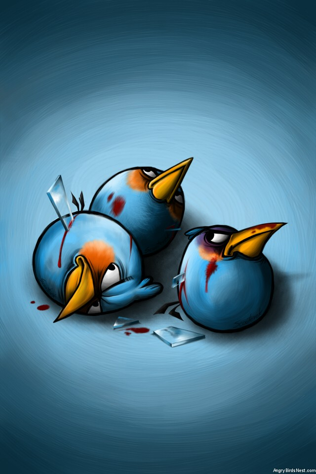 Angry Birds Blue Birds After Battle iPhone Background by
