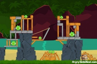 Angry Birds Facebook Surf and Turf Level 29 Walkthrough