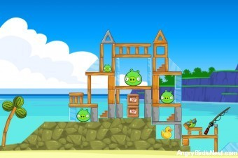 Angry Birds Facebook Surf and Turf Level 5 Walkthrough