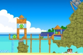 Angry Birds Facebook Surf and Turf Level 6 Walkthrough