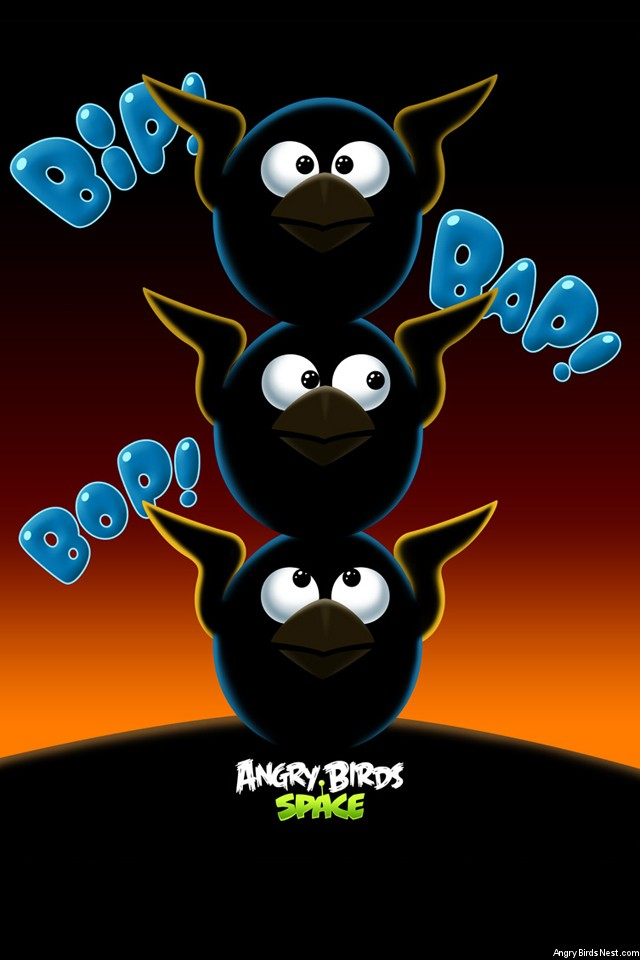 Angry Birds Space Blue Birds iPhone Wallpaper