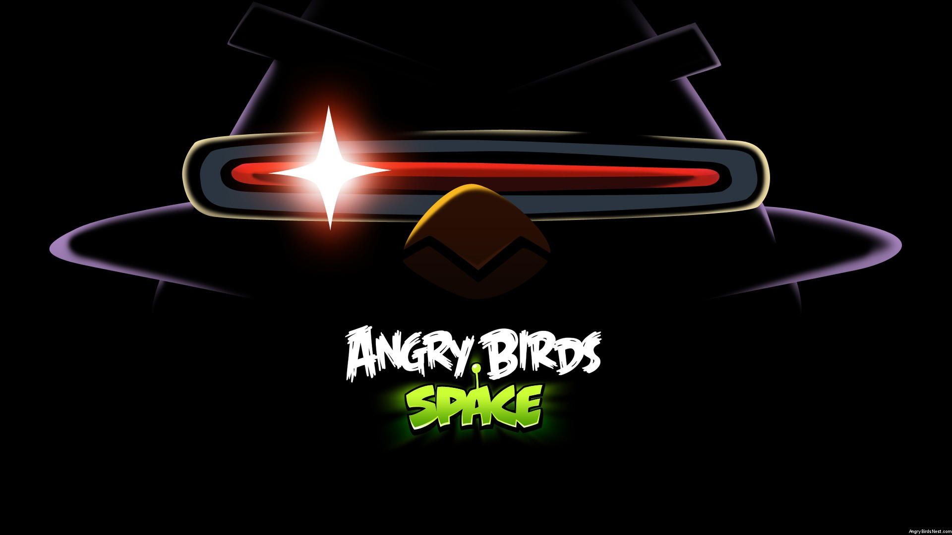 Angry Birds Space Laser Bird Dark Desktop Wallpaper 1920x1080