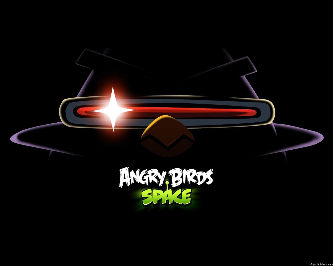 Angry Birds Space Laser Bird Dark Laptop Wallpaper 1280x1024