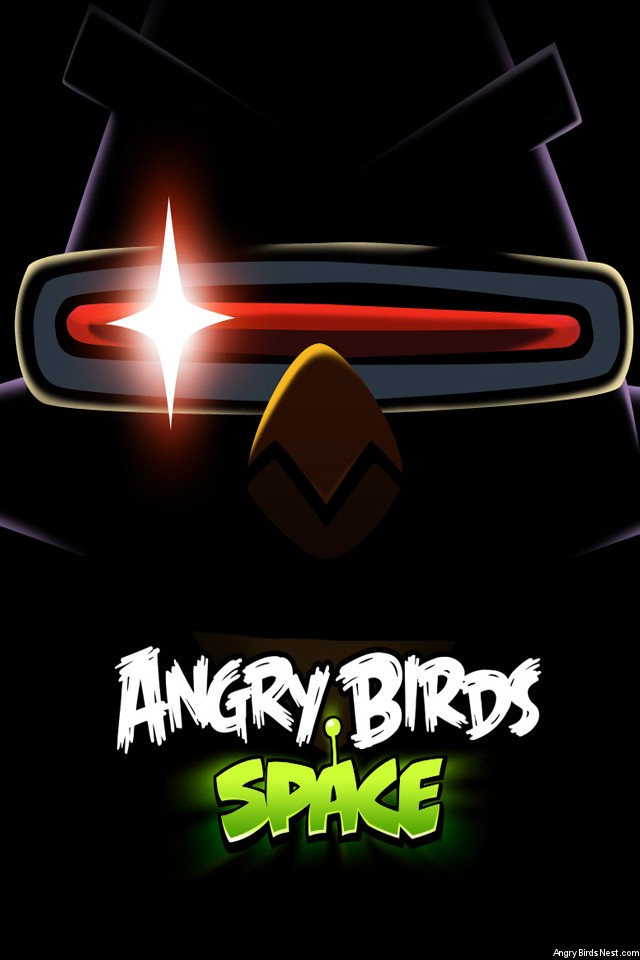 Angry Birds Space Laser Bird Dark iPhone Wallpaper