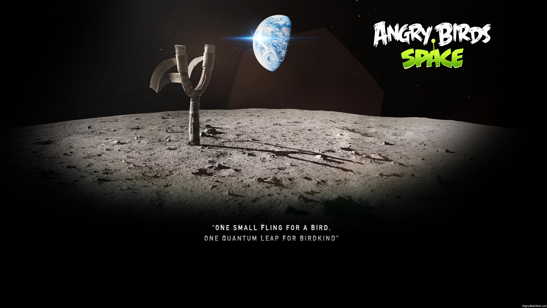 Angry Birds Space Moon Slingshot Desktop Wallpaper 1920x1080