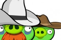 Angry Birds Avatar Red Bird Pigs in Cowboy Hats Up Close