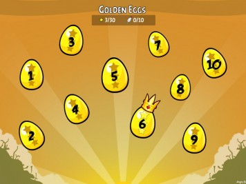Angry Birds Facebook Golden Eggs Selection Screen with Numbers