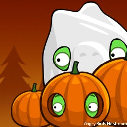 Angry Birds Seasons Avatar Pigs in Pumpkins Up Close