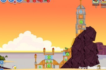 Angry Birds Facebook Pigini Beach Level 9 Walkthrough