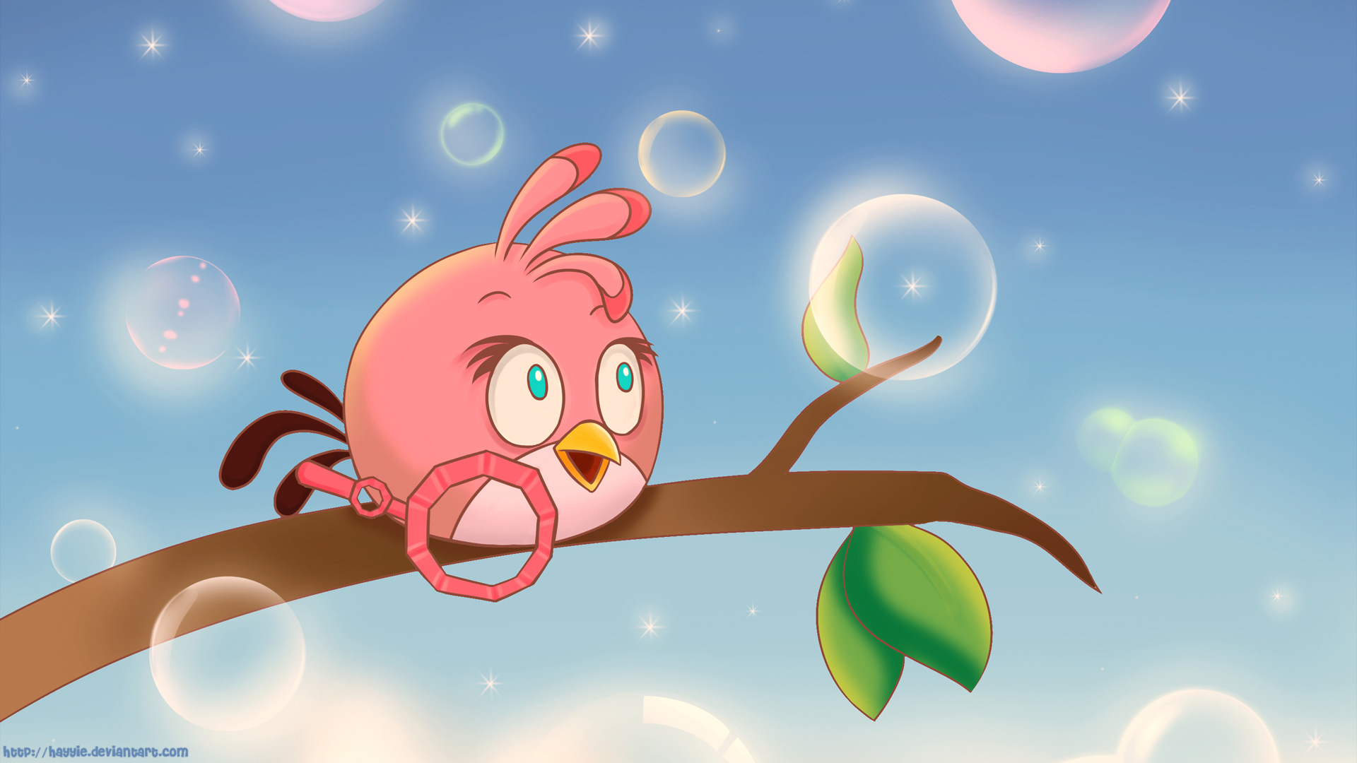 Angry Birds Pink Bird Desktop Background by Hayyie