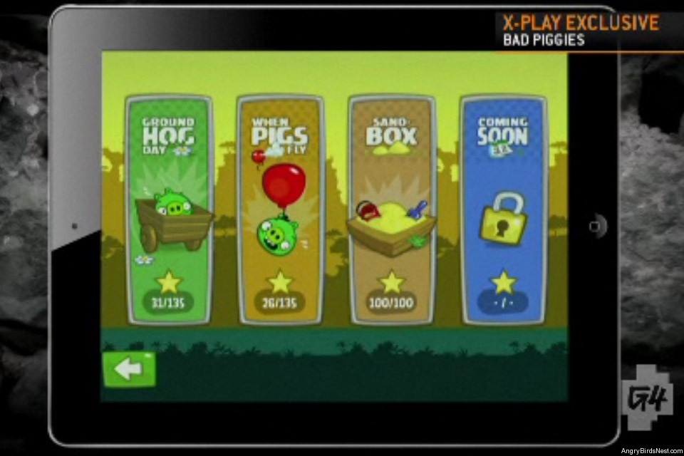 Bad Piggies Fisrt Look G4 Episode Selection Screen