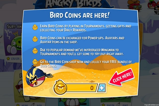 Angry Birds Friends Wingman Update Coin Info Screenshot
