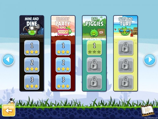Angry Birds Free 150 Level Selection Screen