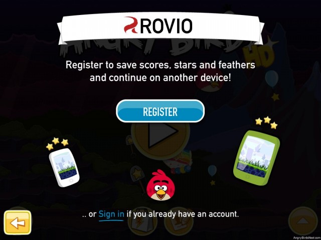 Rovio Account Sign in to Save Scores Screenshot