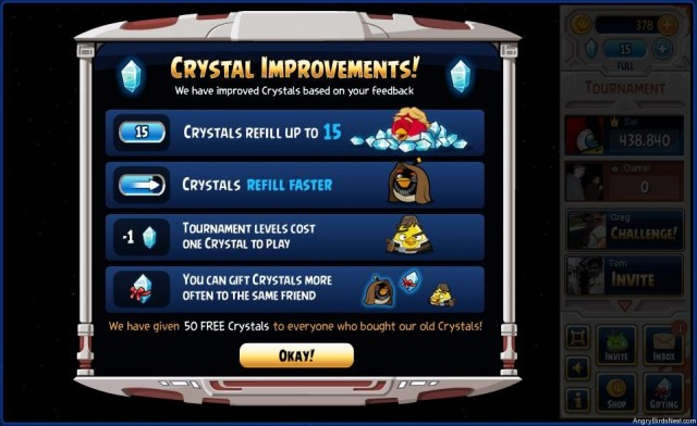 Angry Birds Star Wars Crystal Improvements