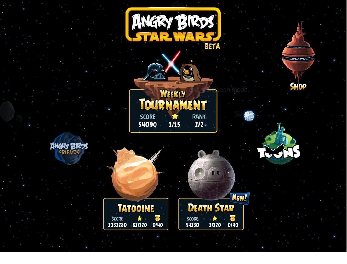 angry birds star wars facebook updated concludes death star adjusts crystals angrybirdsnest. Black Bedroom Furniture Sets. Home Design Ideas