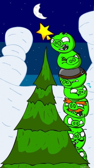 Angry Birds Piggies Placing Star on Christmas Tree iPhone Mobile Wallpaper