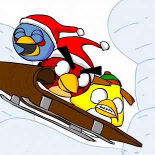 Angry Birds Sledding iPad Tablet Wallpaper