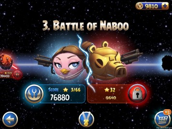 Angry Birds Star Wars II Battle for Naboo Episode Selection Screen