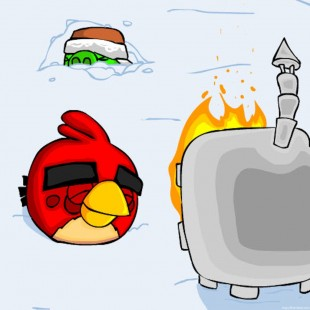 Angry Birds Warm Stove iPad Tablet Wallpaper