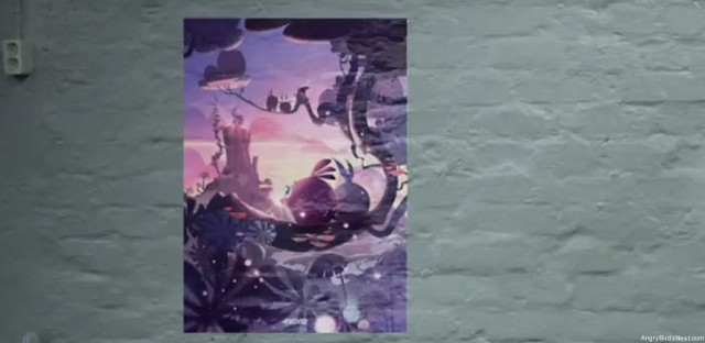 Rovio New Tricks Teaser Video Pink Bird and Unknown Bird Sitting on a Branch in a New World