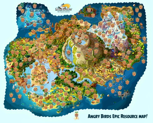 Angry Birds Epic Fully Labeled Resources Map
