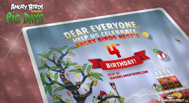 Angry Birds Nest Turns 4 Honored With Angry Birds Seasons Pig Days Level 3 Card