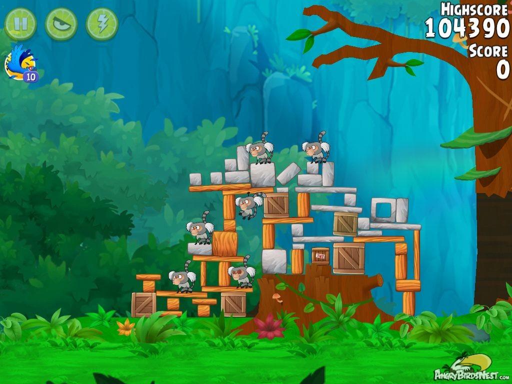 angry birds rio gear #1 walkthrough level 2   angrybirdsnest