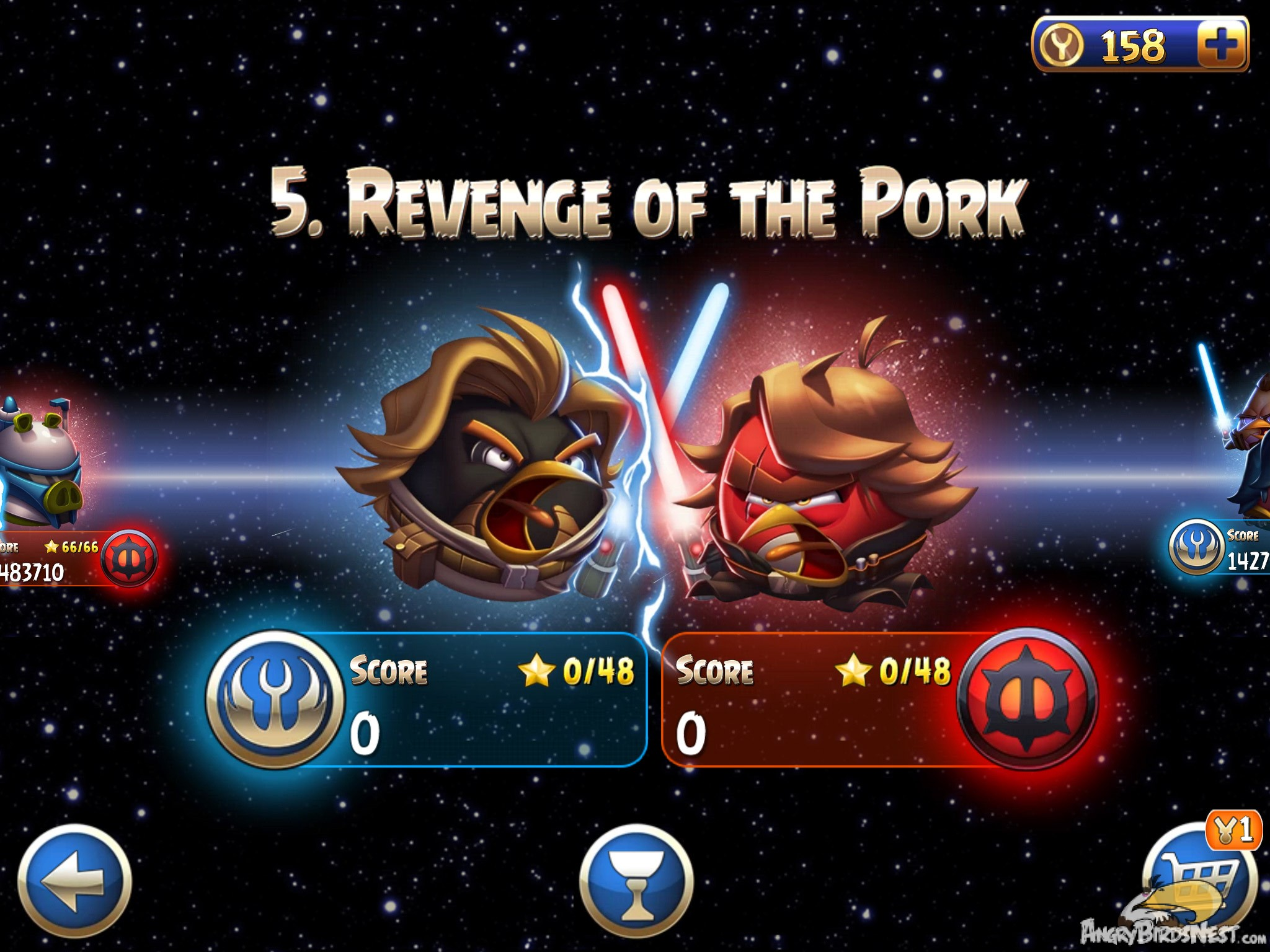 Angry birds star wars 2 rebels episode selection screen.