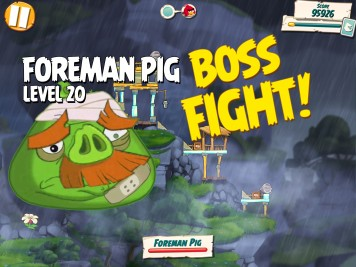 Angry Birds Under Pigstruction Level 20 Foreman Pig Boss Fight