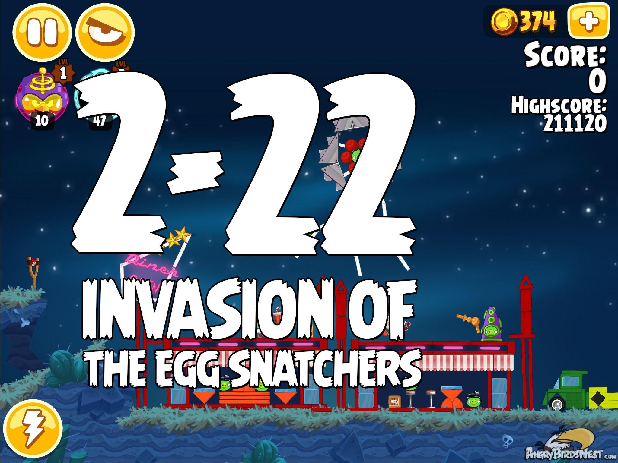 Invasion of the egg snatchers level 2 22 walkthrough angrybirdsnest