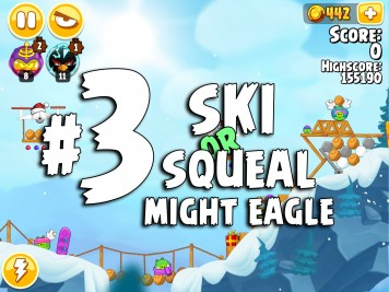 Angry Birds Seasons Ski or Squeal Mighty Eagle Level 3