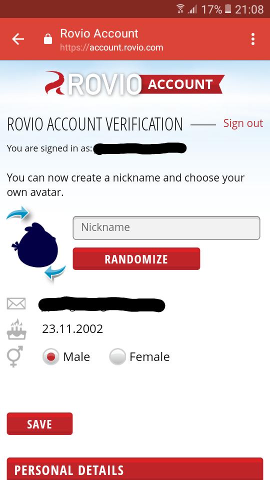 Rovio Account confirmation page