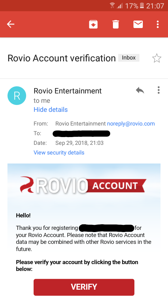 Rovio Account confirmation email