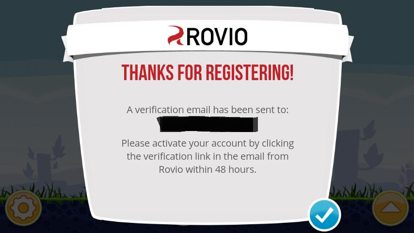 Rovio Account registration complete