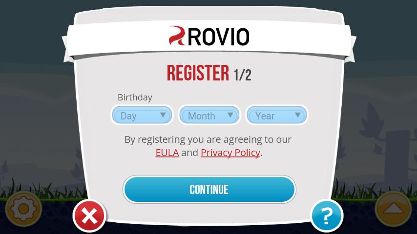 Rovio Account registration screen