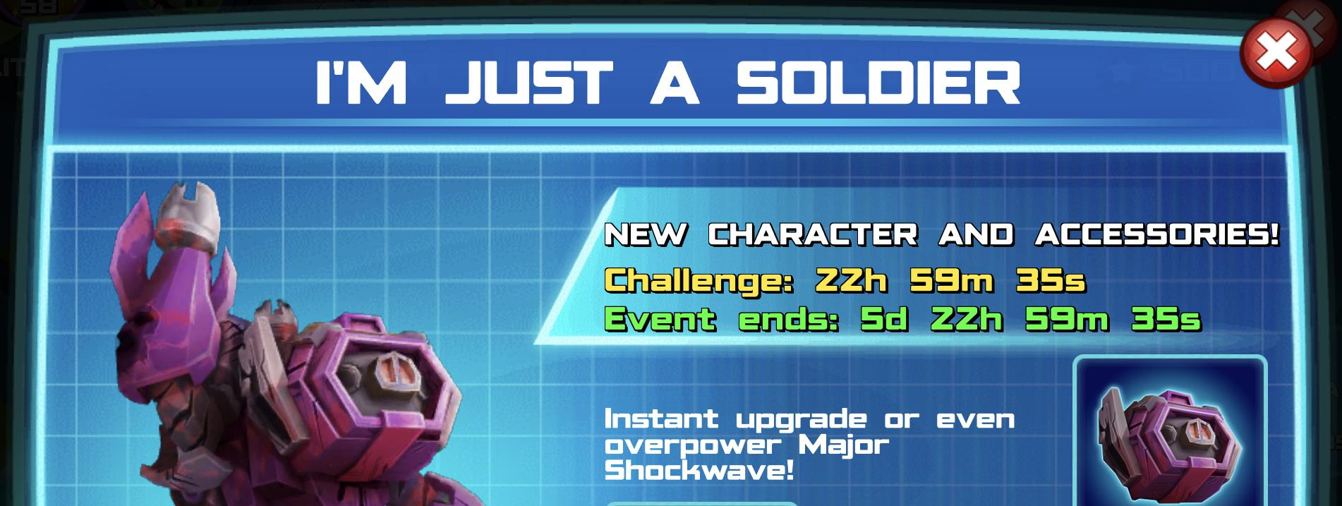 The event banner for I'm just a soldier