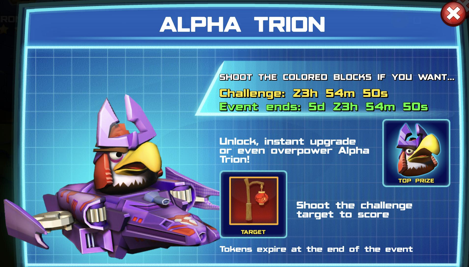 The event banner for Alpha Trion