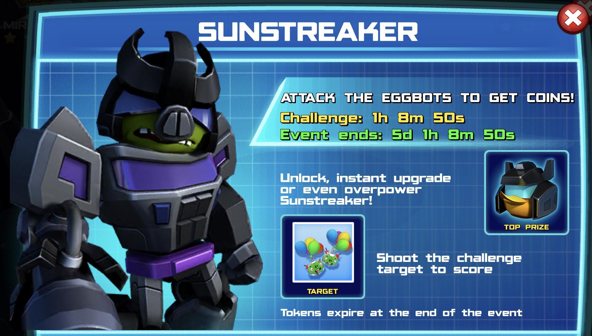 The event banner for Sunstreaker