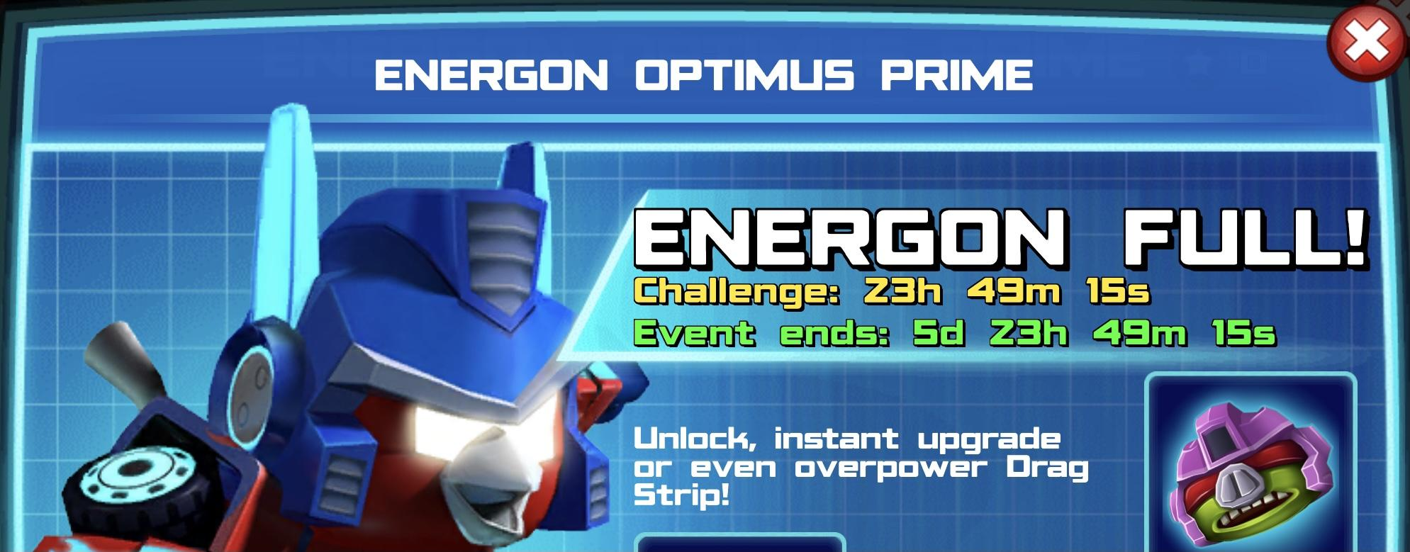 The event banner for Energon Optimus Prime
