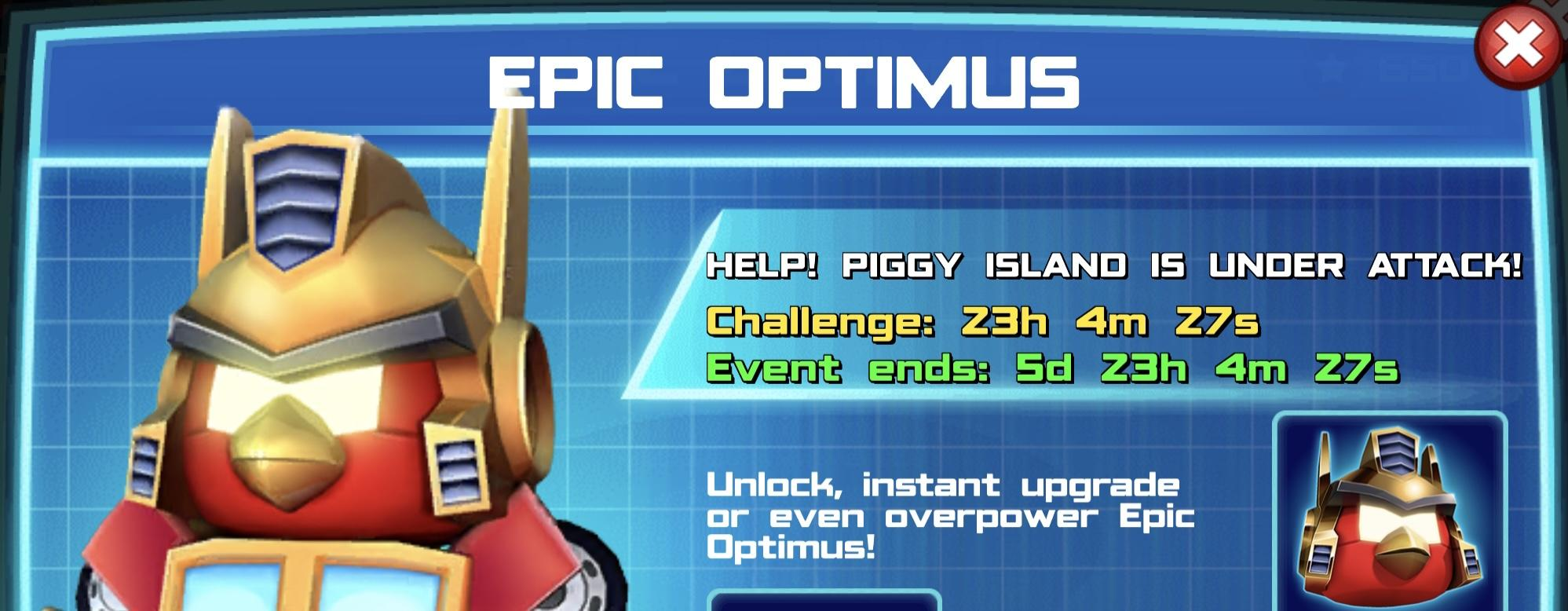The event banner for Epic Optimus