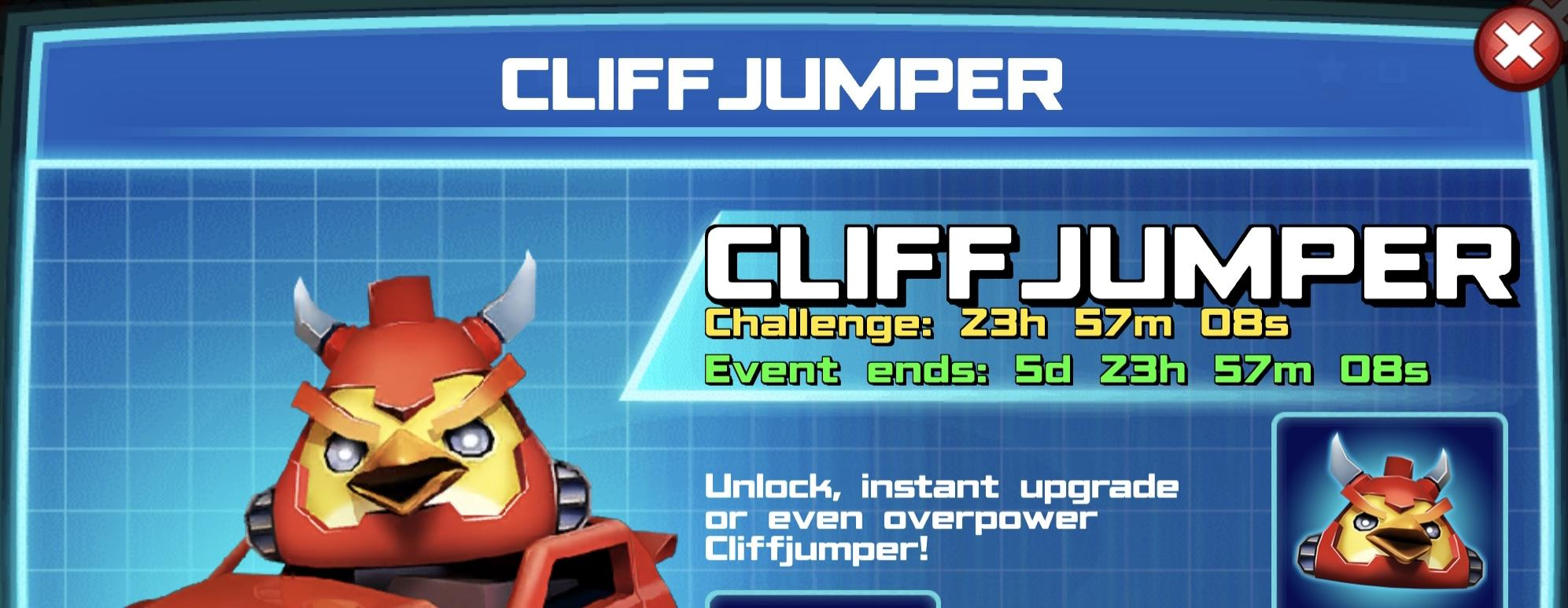 The event banner for Cliffjumper