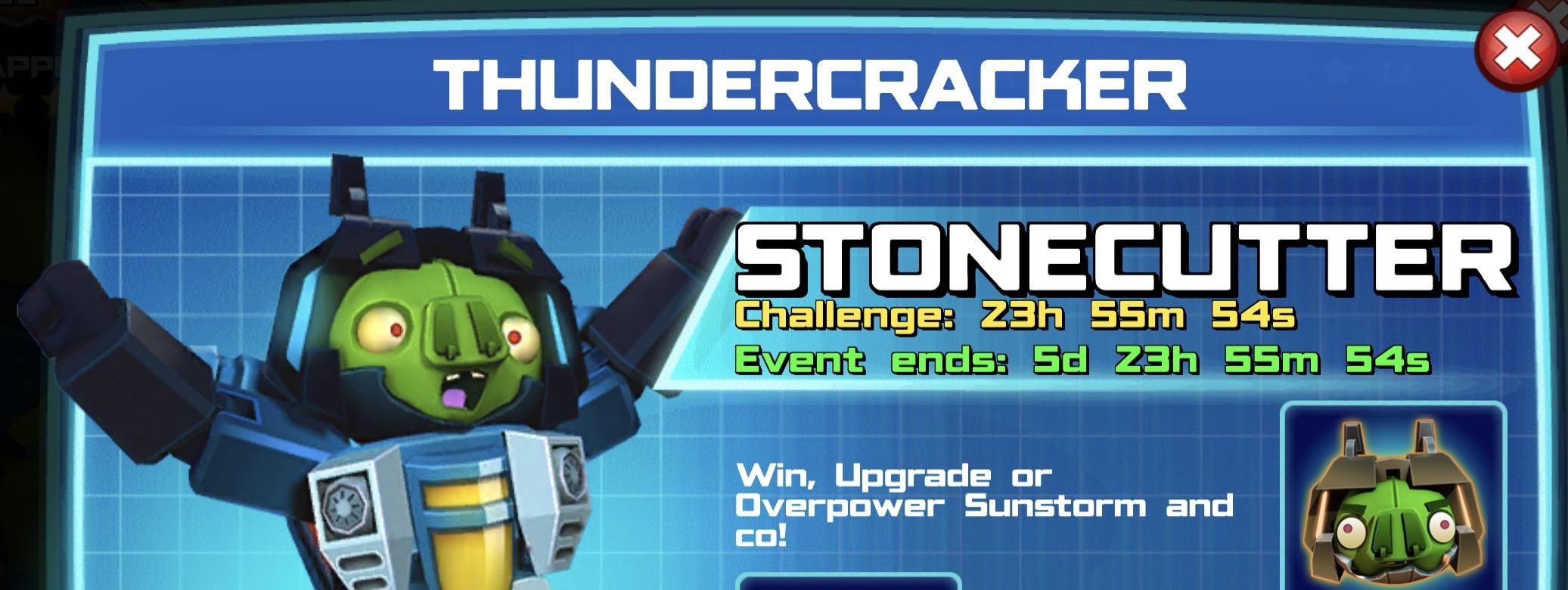 The event banner for Thundercracker