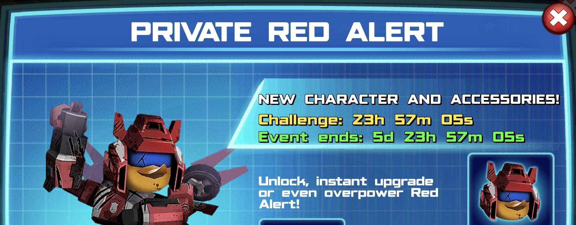 The event banner for Private Red Alert
